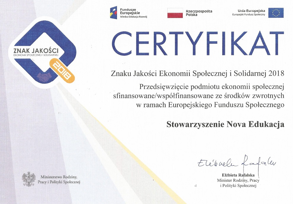 Certyfikat jakości Ekonomi Społecznej iSolidarnej
